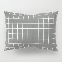 Nickel - grey color - White Lines Grid Pattern Pillow Sham