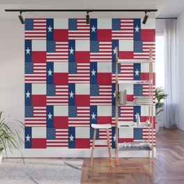 Mix of flag : Usa and Texas Wall Mural