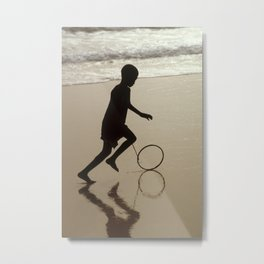 Silhouette on an African Beach. Metal Print