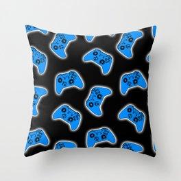 Video Game Blue Throw Pillow