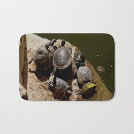 Crowded beach Turtles sunbathing Bath Mat