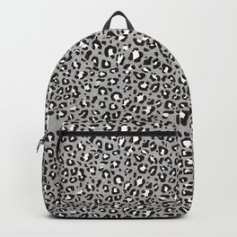 Gray and Black Leopard Print Pattern Backpack