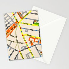 Tel Aviv map - Shenkin Area (Hebrew) Stationery Cards