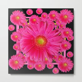 Black & Pink Gerbera Flowers Grey Patterns Art Metal Print