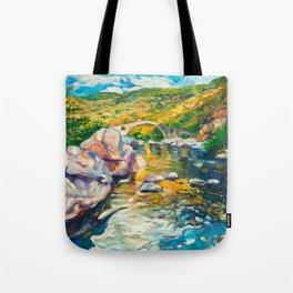 Bridge in the mountains Tote Bag