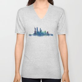 NY New York City Skyline NYC Watercolor art Unisex V-Neck