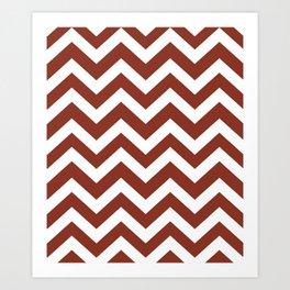 Burnt umber - red color - Zigzag Chevron Pattern Art Print
