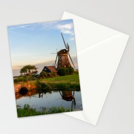 Windmill in a countryside landscape in Holland at sunset Stationery Cards