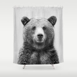 Grizzly Bear - Black & White Shower Curtain