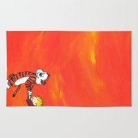 calvin Area & Throw Rugs featuring Calvin & Hobbes Dancing - Orange by Always Add Color