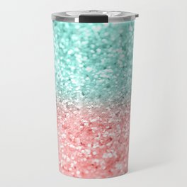 Summer Vibes Glitter #1 #coral #mint #shiny #decor #art #society6 Travel Mug