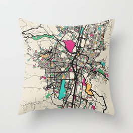 Colorful City Maps: Medellin, Colombia Throw Pillow