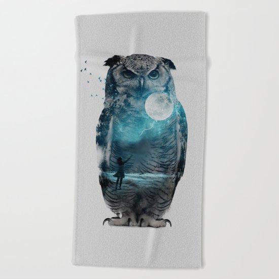 OWL / MOON BALLOON Beach Towel