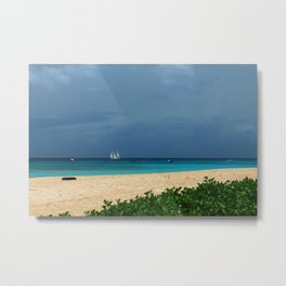 Green and Blue with a Boat Too Metal Print