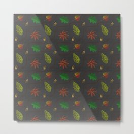 Fall Leaves on Linen Metal Print