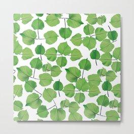 Hand painted neo mint green watercolor leaves Metal Print