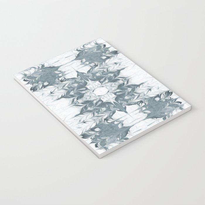Haru - spilled ink modern abstract marble painting indigo ink splash swirl ocean waves water sea Notebook