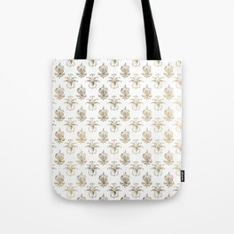 Vintage white faux gold floral damask Tote Bag