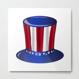 Uncle Sam Flag Hat Metal Print