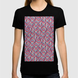 Geometric Labyrinth Red And Blue T-shirt