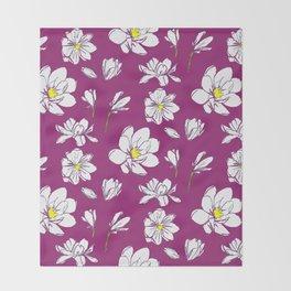 Magnolia Raspberry Throw Blanket