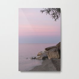 Lake Michigan Summer Golden Hour Sunset Pastel Water and Sky Southeast Wisconsin Metal Print