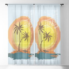 The best happy time is surfing Sheer Curtain