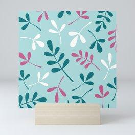 Assorted Leaf Silhouettes Teals Pink White Mini Art Print