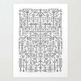 Glyphs - 01 (B&W Edition) Art Print