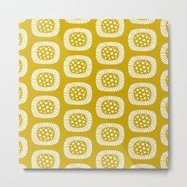 Mid Century Modern Atomic Sunburst Mustard Yellow Metal Print