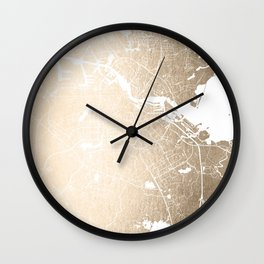 Amsterdam Gold on White Street Map II Wall Clock