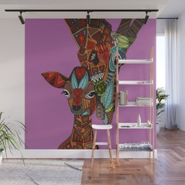 giraffe love orchid Wall Mural