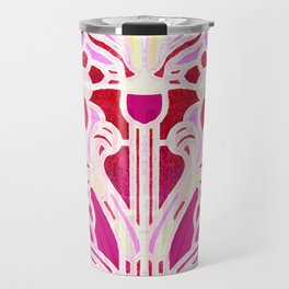 Pink Purple and Red Art Nouveau Batik Pattern Travel Mug