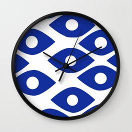 Blue and White Pattern Fish Eye Design Wall Clock
