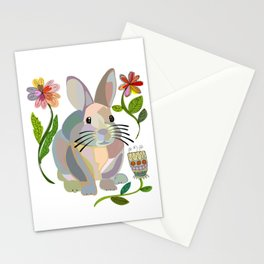 Bunny Rabbit with Flowers Stationery Cards