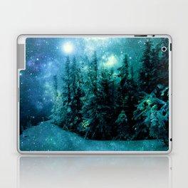Galaxy Winter Forest Blue Teal Laptop & iPad Skin