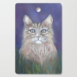 CUTE YOUNG TABBY CAT GREY BEIGE CHALK PASTEL DRAWING Cutting Board