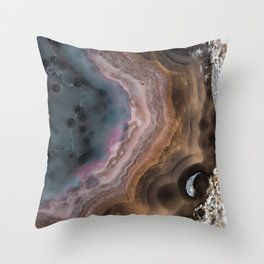Multi colored agate slice Throw Pillow