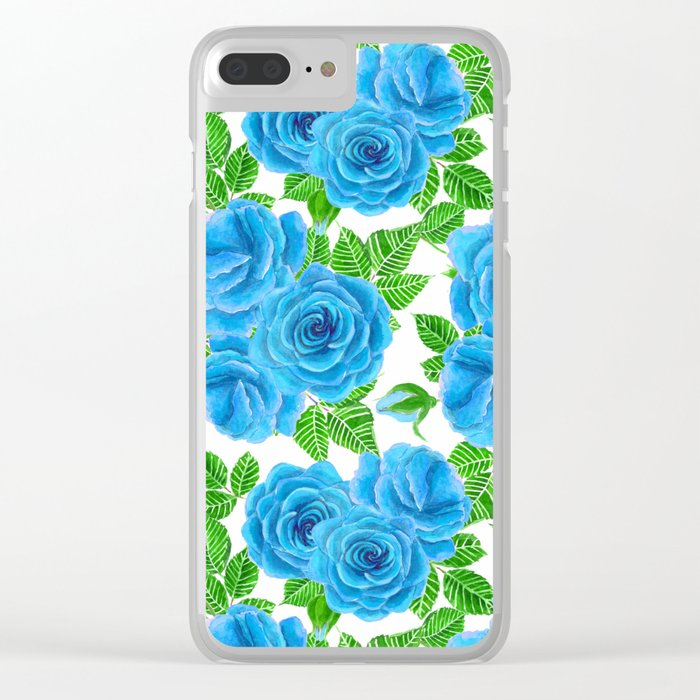 Blue roses watercolor seamless pattern Clear iPhone Case