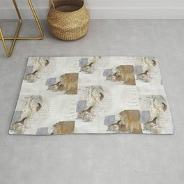 Abstract Leaves in Neutral Colours Rug