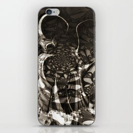 Life of black and white abstract creatures iPhone Skin