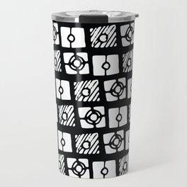 Black white abstract hand painted geometrical pattern Travel Mug