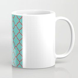 Quatrefoil - Turquoise & Red Coffee Mug