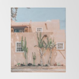 Pink House With Cactus Throw Blanket