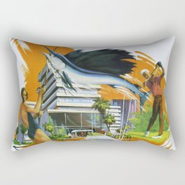 Miami and Fort Lauderdale, Delta Air Lines - Vintage Travel Poster Rectangular Pillow