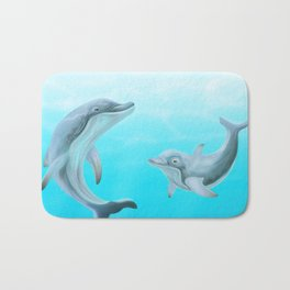 Dolphins Swimming in the Ocean Bath Mat