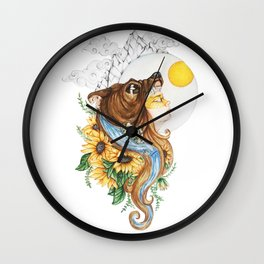 Summer Solstice Goddess in Bear Headdress Wall Clock