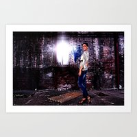 Fashion Model in Jeans  Fine Art Print Art Print