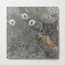 Cat work Metal Print
