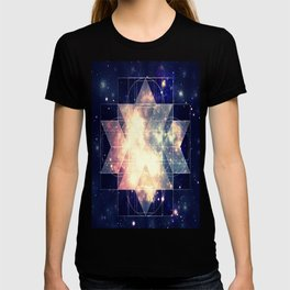 Galaxy Sacred Geometry: Golden Rhombic Hexecontahedron T-shirt